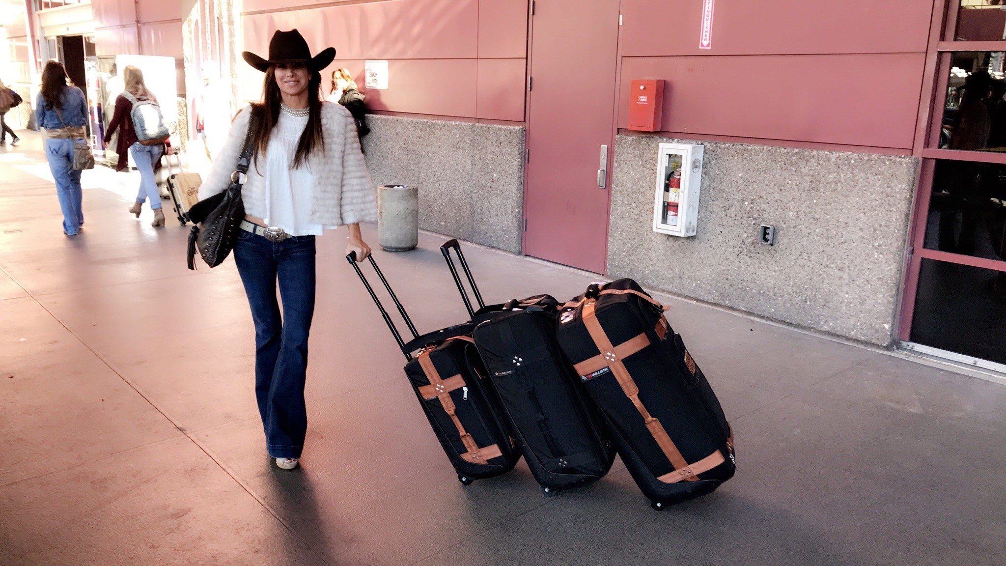 Debbe Dunning and her TRS Ballistic Luggage