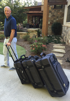Stewart Cink shows how esy it is to pull TRS Ballistic luggage